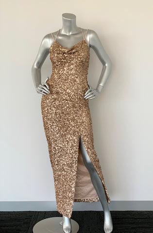 Forever New Gold Sequin Gown Dress