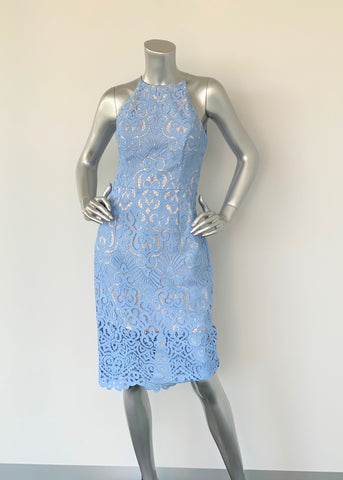 Forever New Baby Blue Lace Halterneck Dress