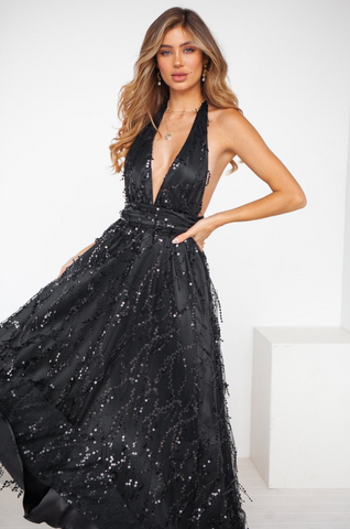 Sparkle Sequin Black Maxi Dress