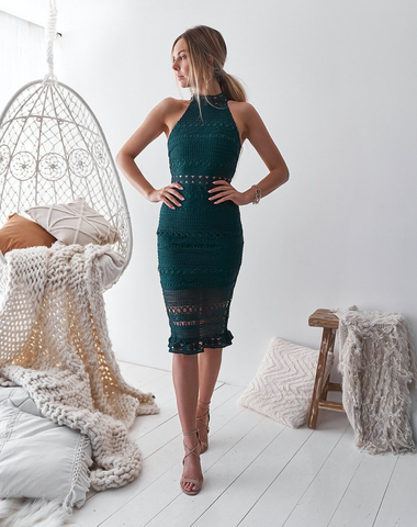 Two Sisters Emerald Green Rivers Midi Dress