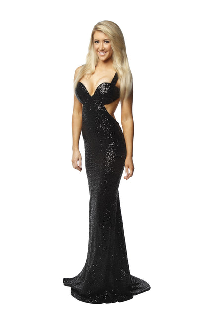 Portia and Scarlett Backless Sequin Gown