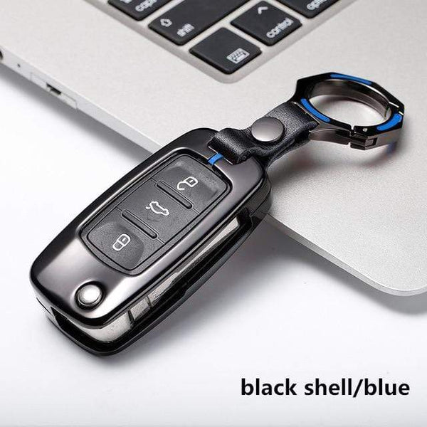 OEL DESIGN BLACK BLUE KEYRING VW Golf Car Remote Key Cover Case