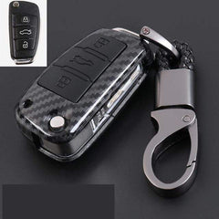 OEL DESIGN BLACK  KEY COVER Audi Carbon Fiber Cover  & KeyChain
