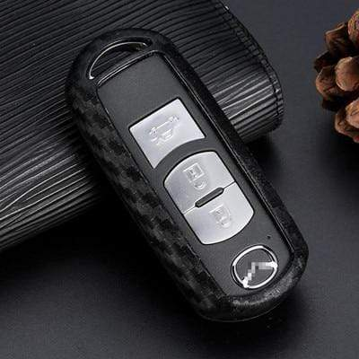 OEL DESIGN BLACK KEY SHELL Mazda Carbon Fiber Silicone Car Key Case Cover Fob Keychain