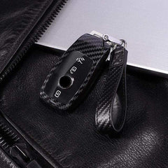 OEL DESIGN BLACK KEYCHAIN Mercedes Benz PC Carbon Fiber Full Protective Cover key Shell Case
