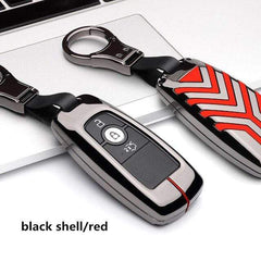 OEL DESIGN BLACK RED KEY COVER Ford EcoSport Zinc Alloy Car Key Case Cover
