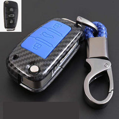 OEL DESIGN BLUE  KEY COVER Audi Carbon Fiber Cover  & KeyChain