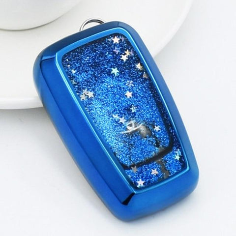 OEL DESIGN BLUE  KEY COVER Toyota Land Cruiser Car Remote Key Case Fob Holder