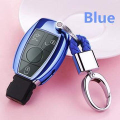 OEL DESIGN BLUE  KEY COVER WITH CHAIN Mercedes Benz Soft TPU Car Key Case Cover