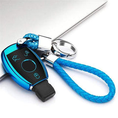 OEL DESIGN BLUE  KEY COVER WITH CHAIN Mercedes New Hot Soft Car key Case
