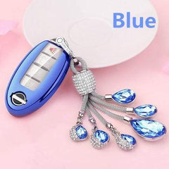 OEL DESIGN BLUE  KEY COVER WITH KEYRING Nissan Qashqai Car Key Case Cover