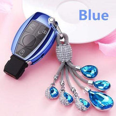 OEL DESIGN BLUE  KEY COVER WITH RING Mercedes Benz Soft TPU Car Key Case Cover