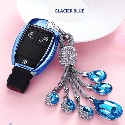 OEL DESIGN BLUE  KEYCHAIN SET Mercedes Benz Smart Remote Soft TPU Car Key Case