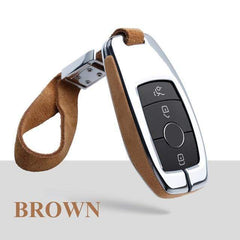 OEL DESIGN BROWN  KEY COVER WITH KEYCHAIN 2 Mercedes-Benz Smart Key Cover Case