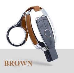 OEL DESIGN BROWN  KEY COVER WITH KEYRING Mercedes-Benz Smart Key Cover Case