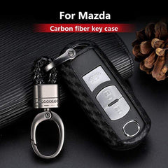 OEL DESIGN Mazda Carbon Fiber Silicone Car Key Case Cover Fob Keychain