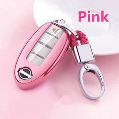 OEL DESIGN PINK KEY COVER WITH KEYCHAIN Nissan Qashqai Car Key Case Cover