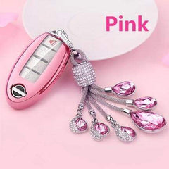 OEL DESIGN PINK  KEY COVER WITH KEYRING Nissan Qashqai Car Key Case Cover