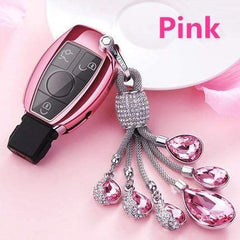 OEL DESIGN PINK  KEY COVER WITH RING Mercedes Benz Soft TPU Car Key Case Cover