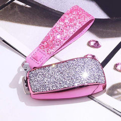 OEL DESIGN PINK KEYCHAIN Mercedes Benz Crystal Shining Car Key Case Cover