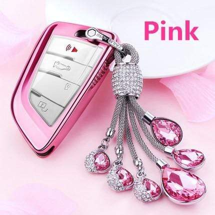 OEL DESIGN PINK KEYRING ONLY BMW Car Key Case Cover