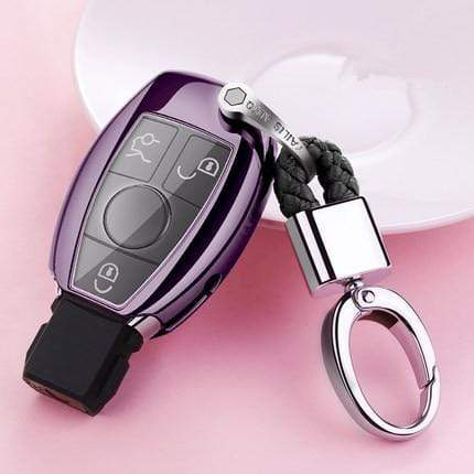 OEL DESIGN PURPLE KEY COVER WITH CHAIN Mercedes Benz Soft TPU Car Key Case Cover