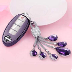 OEL DESIGN PURPLE KEY COVER WITH KEYRING Nissan Qashqai Car Key Case Cover