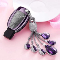 OEL DESIGN PURPLE  KEY COVER WITH RING Mercedes Benz Soft TPU Car Key Case Cover