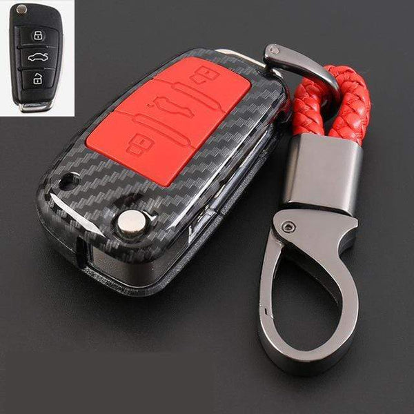 OEL DESIGN RED KEY COVER Audi Carbon Fiber Cover  & KeyChain