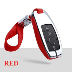 OEL DESIGN RED  KEY COVER WITH KEYCHAIN Mercedes-Benz Smart Key Cover Case