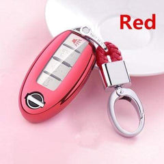 OEL DESIGN RED  KEY COVER WITH KEYCHAIN Nissan Qashqai Car Key Case Cover