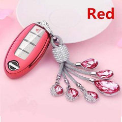 OEL DESIGN RED  KEY COVER WITH KEYRING Nissan Qashqai Car Key Case Cover
