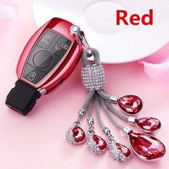 OEL DESIGN RED  KEY COVER WITH RING Mercedes Benz Soft TPU Car Key Case Cover