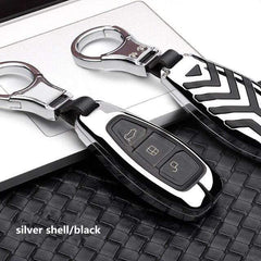 OEL DESIGN SILVER BLACK KEY COVER Ford Fiesta Focus Zinc Alloy Car Key Cover Case