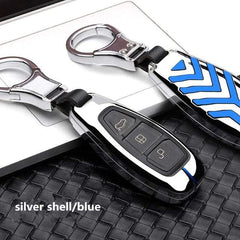 OEL DESIGN SILVER BLUE KEY COVER Ford Fiesta Focus Zinc Alloy Car Key Cover Case