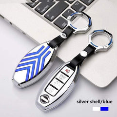 OEL DESIGN SILVER BLUE KEYRING Nissan Qashqai Zinc alloy Car Remote Key Cover Case