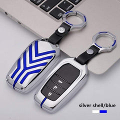 OEL DESIGN SILVER BLUE  KEYRING ONLY Toyota Zinc alloy Car Remote Key Cover Case