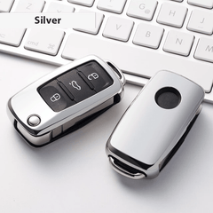 OEL DESIGN SILVER  KEY COVER Volkswagen Car Key Case Shell