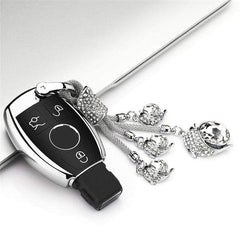 OEL DESIGN SILVER  KEY COVER WITH KEYRING Mercedes New Hot Soft Car key Case