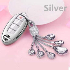 OEL DESIGN SILVER  KEY COVER WITH KEYRING Nissan Qashqai Car Key Case Cover