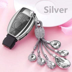 OEL DESIGN SILVER  KEY COVER WITH RING Mercedes Benz Soft TPU Car Key Case Cover