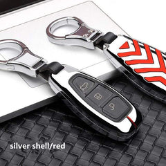 OEL DESIGN SILVER RED KEY COVER Ford Fiesta Focus Zinc Alloy Car Key Cover Case