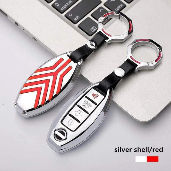 OEL DESIGN SILVER RED KEYRING Nissan Qashqai Zinc alloy Car Remote Key Cover Case
