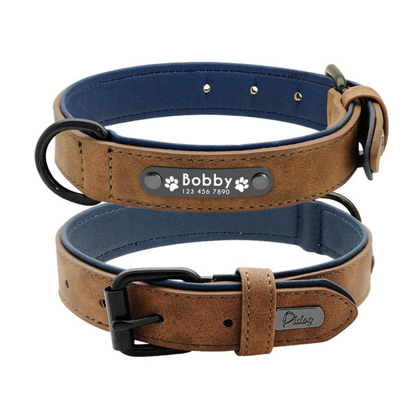 Premium soft touch leather dog collar with custom name tag