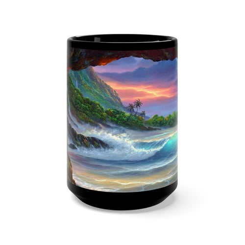 Kauai Sea Cave, By Robert Thomas, Black Mug 15oz