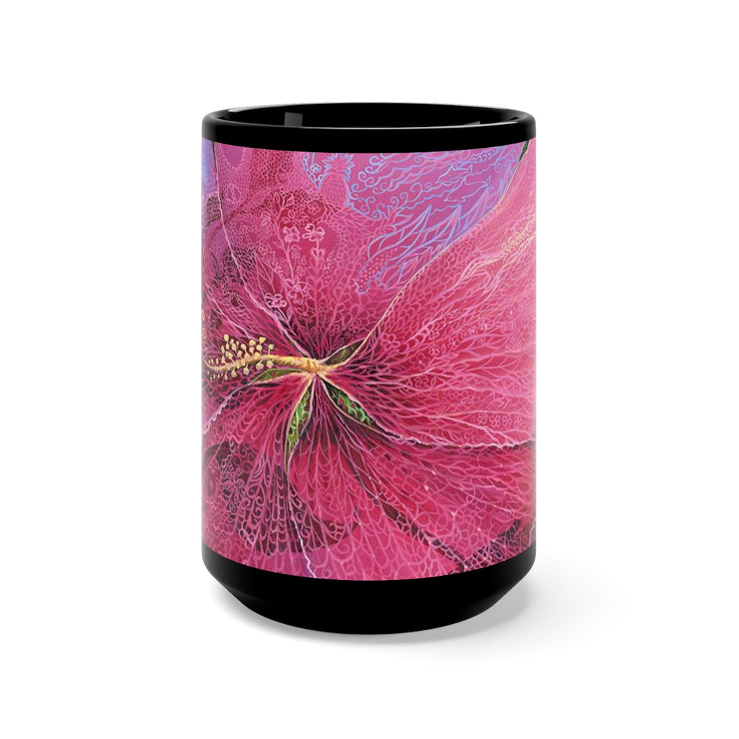 Pink Hibiscus Dream, By Robert Thomas, Black Mug 15oz