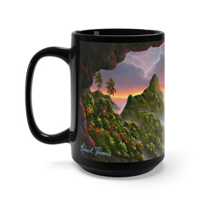 Kauai Secret Place, By Robert Thomas, Black Mug 15oz