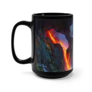 Volcano Sea cave, Robert Thomas Hawaiian Art, Black Mug 15oz