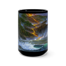 Load image into Gallery viewer, Volcano Light, by Robert Thomas, Black Mug 15oz