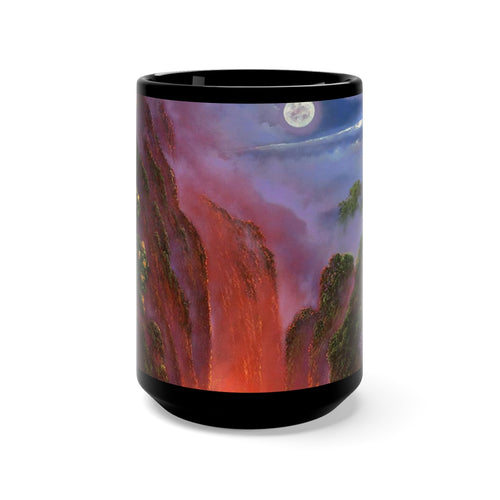 Kilauea Mauna Kea Moon, by Robert ThomasBlack Mug 15oz